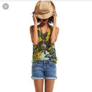 CAbi Bali Floral Tank Top Yellow Navy Style 286